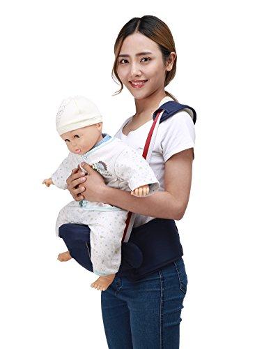 Zaitun ベビー 抱っこひも ウエストキャリー ヒップシート 肩ストラップ付き ベビーキャリーア 赤ちゃん 調整可 軽量 パッド入り 腰負担軽減 メッシュ 素材 4way(新生児~3歳まで) (ダークブルー)