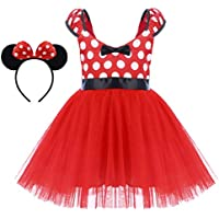 Little Girl Minnie Costume Tulle Gown with Ear Headband Polka Dots Christmas Halloween Dress Up Short Dress Red 3-4 Years