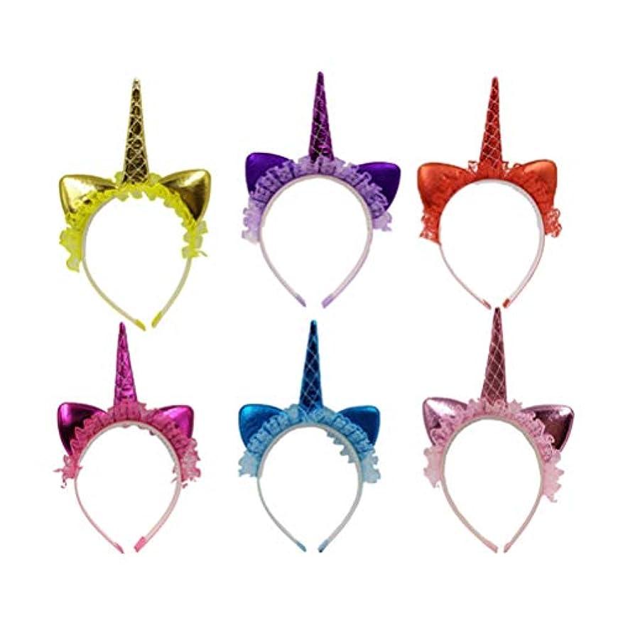 責任不安すぐにNUOBESTY 6PCS女の子女性子供パフォーマンスのコスプレ衣装パーティーのためのユニコーンヘッドバンドのレースの花のホーンヘアフープヘッドピースの頭飾り