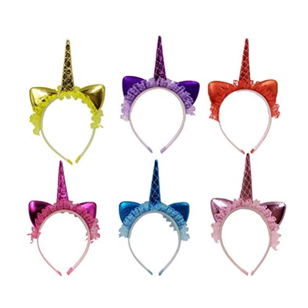 お世話になった取り替える菊NUOBESTY 6PCS女の子女性子供パフォーマンスのコスプレ衣装パーティーのためのユニコーンヘッドバンドのレースの花のホーンヘアフープヘッドピースの頭飾り