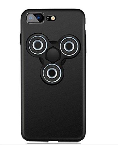 日本未発売 SPRING COME® [ハンドスピナー付きMATPCスマホンケース」ボールベアリング フォーカス玩具 iphone 5/SE /IPhone6s iPhone6 PLUS/ iphone7 7s 軽量 ウルトラ スリム 超薄型 プラスチック メッキ 360度保護 全面的保護機能  Hand Spinner Fidget Spinner ハード バック ケース アイホン5 アイホンSE / アイフォン6s / 6アイフォン6 / 6s / 7/7プラス カバー スマホケース スマホカバー 超薄 軽量 プラスチック製 アイホン6s プラス カバー アイフォーン (アイホン6/6S兼用, 黒+黒+黒) [並行輸入品]