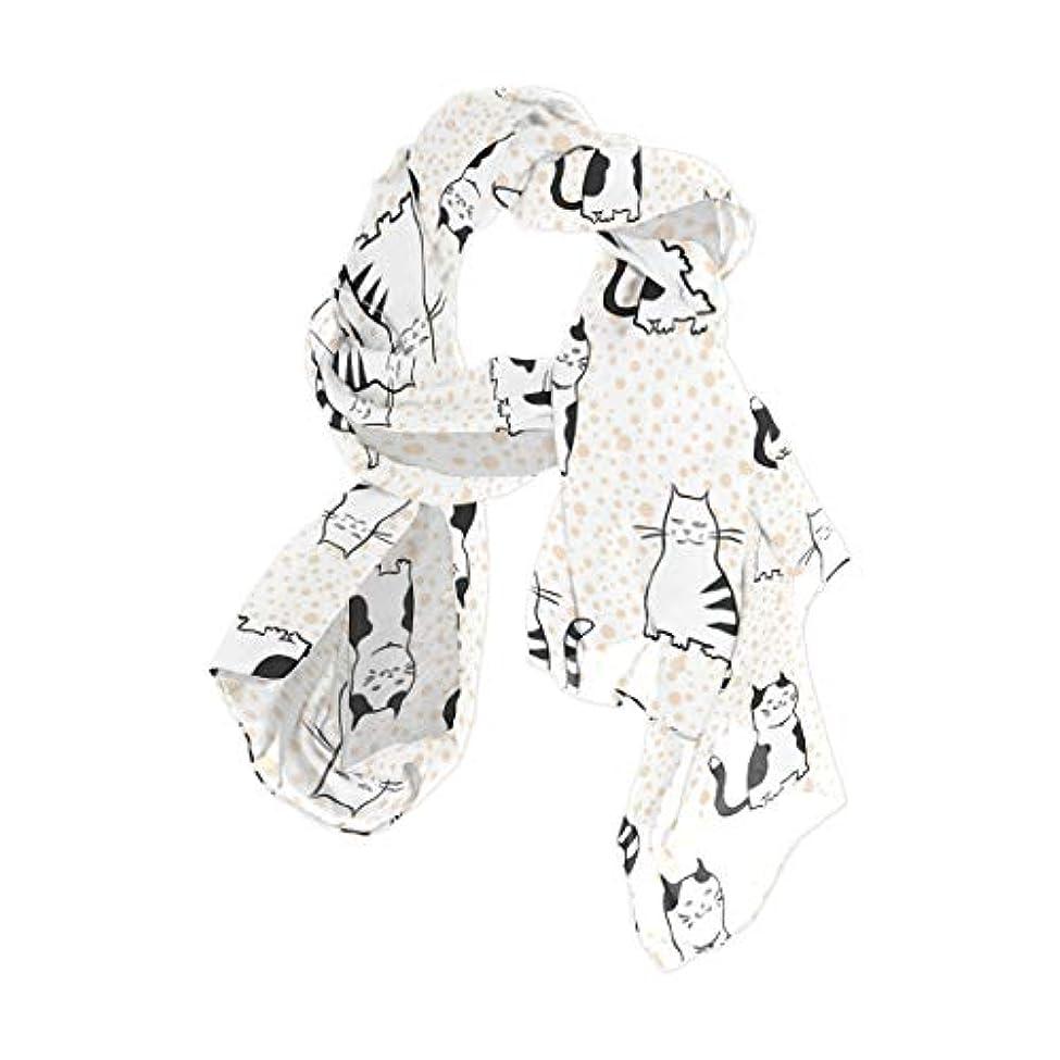 掃く必要ないマーカーユサキ(USAKI) スカーフ レディース 大判 かわいい 猫柄 ストール 春夏秋冬 UVカット 冷房対策 シルク 肌触り ショール パーティー 90×180cm