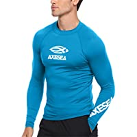 AXESEA Men Long Sleeve Rashguard UPF 50+ Rash Guard Shirt Athletic Swim Tops Size S-XXL
