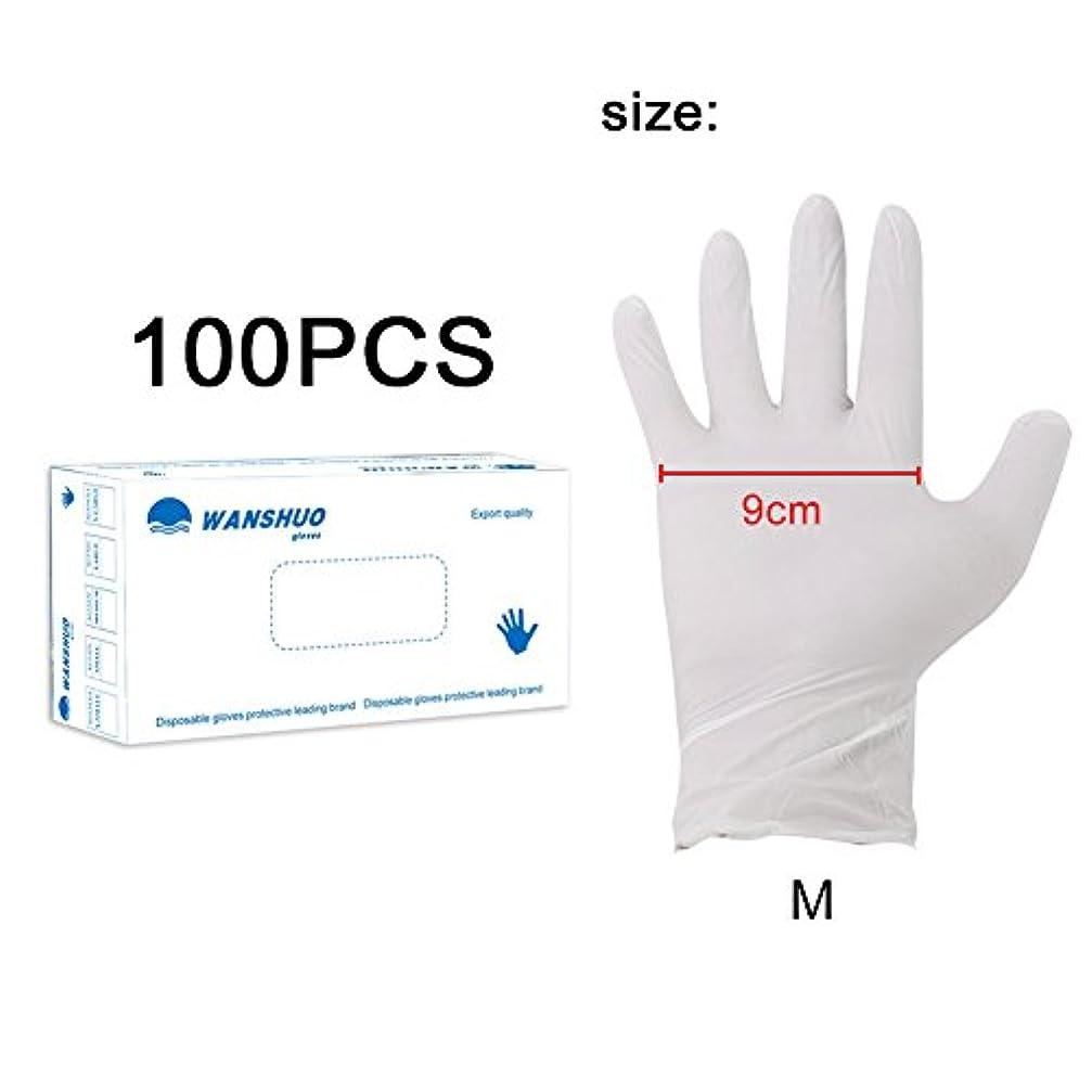 幹狼飢え使い捨て手袋 ニトリルグローブ ホワイト 粉なし 化学保護/酸/アルカリ/耐油性/防水 S/M/L選択可 100枚 左右兼用 作業手袋(M)