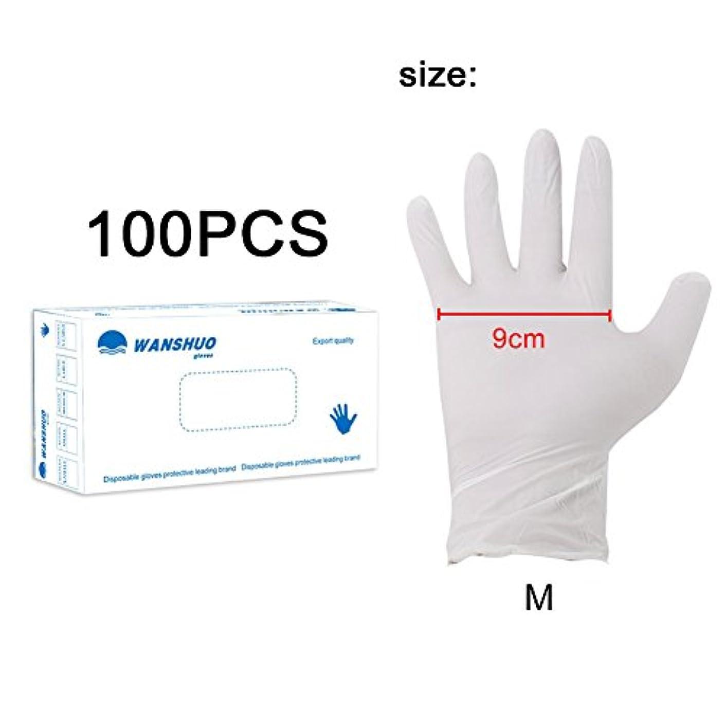 主要なコーナー大胆不敵使い捨て手袋 ニトリルグローブ ホワイト 粉なし 化学保護/酸/アルカリ/耐油性/防水 S/M/L選択可 100枚 左右兼用 作業手袋(M)