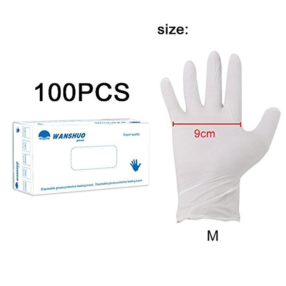 記憶に残る再び誓い使い捨て手袋 ニトリルグローブ ホワイト 粉なし 化学保護/酸/アルカリ/耐油性/防水 S/M/L選択可 100枚 左右兼用 作業手袋(M)