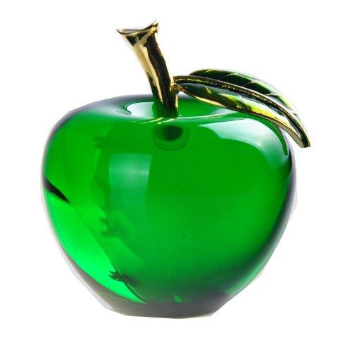 Waltz&F 釉製直径55mm水晶リンゴ クリスタルアップル ペーパーウェイト ギフト インテリア 開運グッズ 装飾置物 (緑)