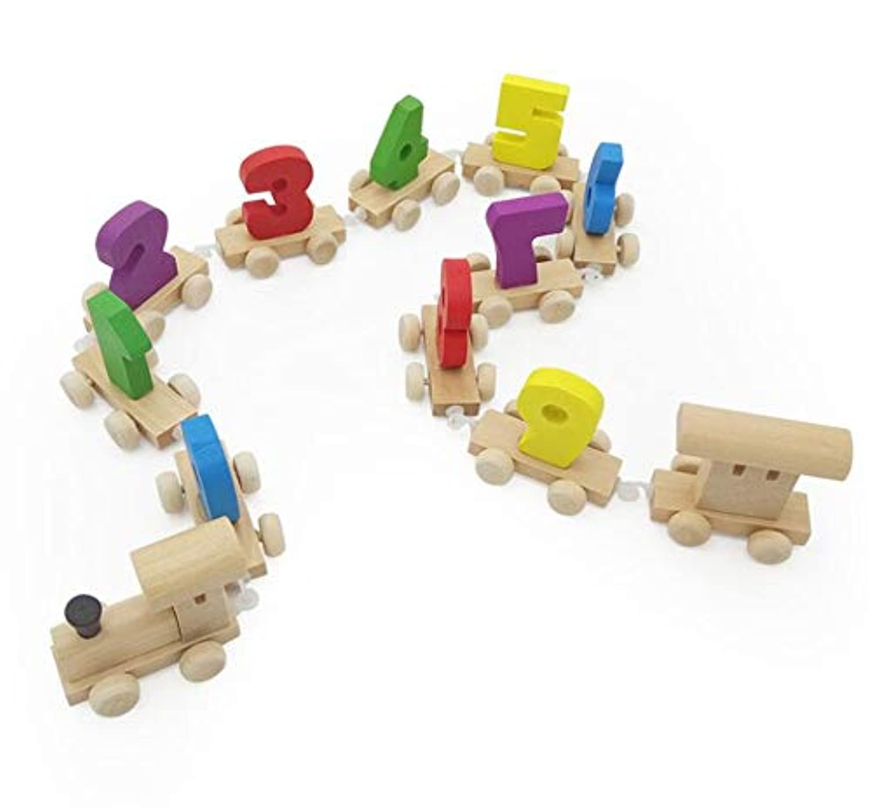 PROW 木製デジタル電車 カラフル 0-9番 子供の学習 早期教育玩具 就学前 トレーニング 脳ゲーム (12個)