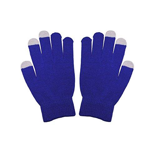 青 BlueユニセックスフルフィンガーワンサイズTouchTipタッチスクリーン冬用グローブPantech Ease