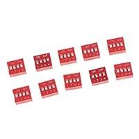 Baosity DIP スイッチ 2.54mm 10点セット トグルスイッチ 1-8ポジション ピッチスライド型 赤  - 4ポジションウェイ