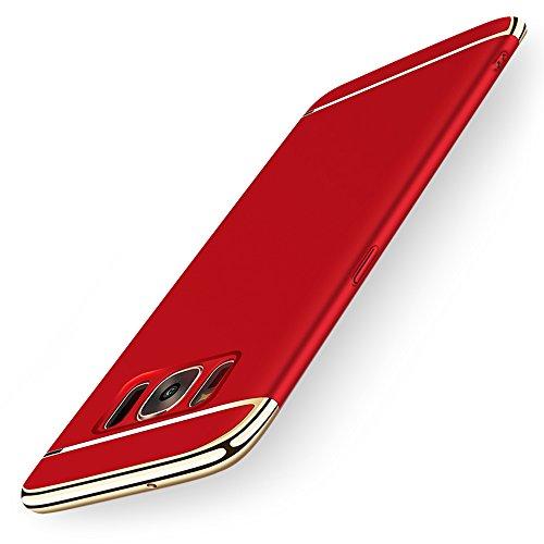 KYOKA Samsung Galaxy S8 Plus ケース メッキ加工 軽量 衝撃防止 3パーツ式 ギャラクシーS8+ ケース おしゃれ 高級感 薄型 携帯カバー (Galaxy S8+, レッド)