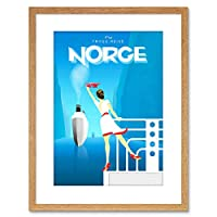 Travel Norge Norway Ship Photo Framed Wall Art Print