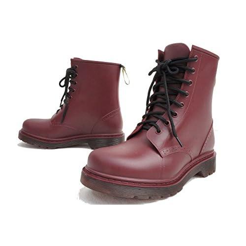 【ノーブランド品】PL-6301 レースアップレインブーツ PAANI LAPULE 長靴 M(約23.5cm) CHERRYRED(チェリーレッド)