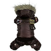 犬子犬暖かい冬のジャケットのコートUSA AIR FORCE防水服ペット、動物猫パーカー服ジャンプスーツパンツ:コーヒー、XL