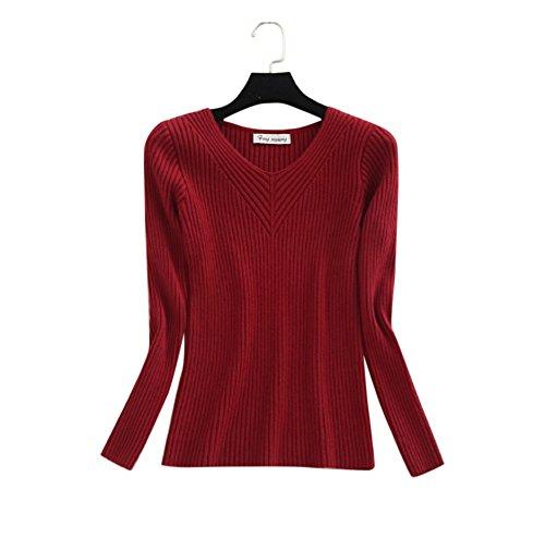 formanism 選べる シンプル 春カラー 定番カラー ニット セーター Vネック レディース 全15色 M (ボルドー)