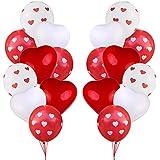 Funpa 40点 装飾 バルーン 風船 告白 プロポーズ バレンタインデー 部屋デコ ハート型 赤 白 パーティー デコレーション