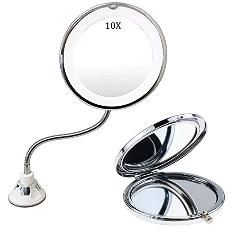 天井とげ縞模様の10倍拡大鏡 LED化粧鏡 明るさ調節可能 浴室鏡 曇らないミラー 吸盤ロック付きLEDミラー 壁掛けメイクミラー 360度回転スタンドミラー 三単電池