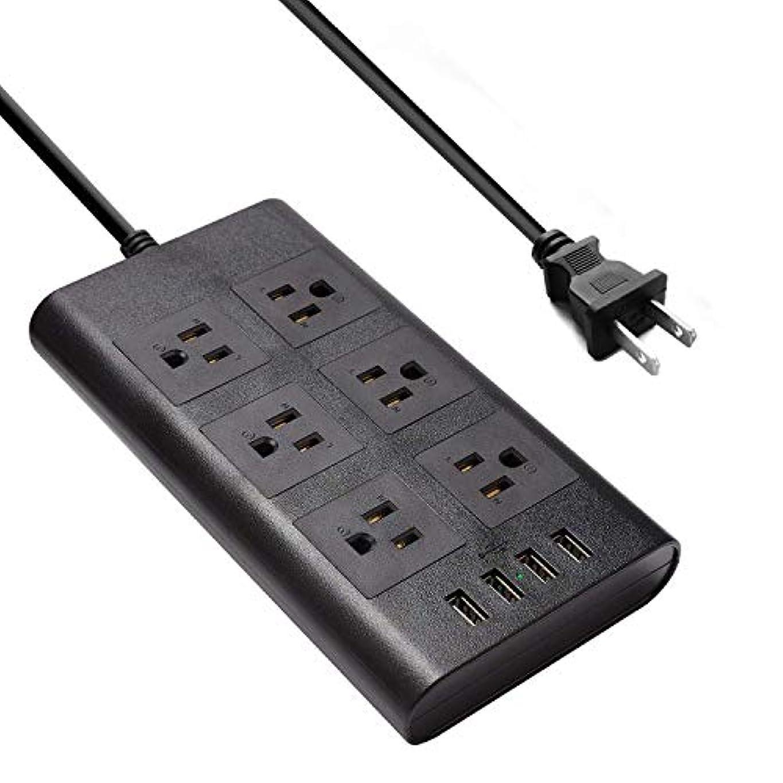 ポーターに異なるRAYSTIN 電源タップ 雷ガード コンセント 6個AC差込口 4USBポート スマート充電 1875W 過負荷保護 ブラック たこ足配線 2Mコード