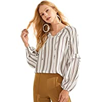 MakeMeChic Women's Ruffle Long Sleeve Tie V Neck Casual Stiped Blouse Top