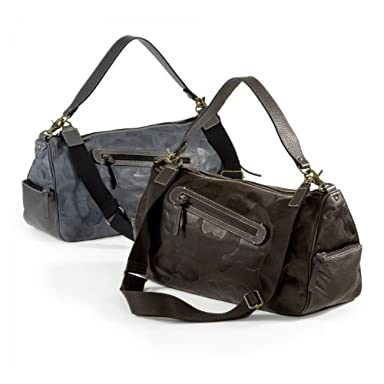 Camouflage Leather Duffle Bag: Grey, Dark Brown