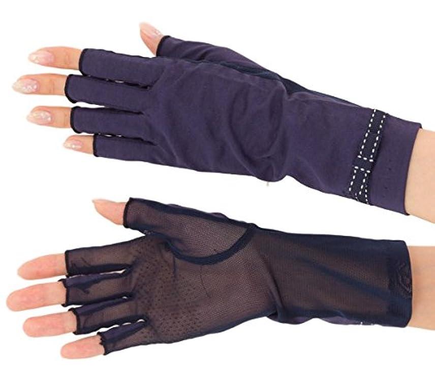 ツール練習有名人エル (ELLE) 接触冷感 スマホ対応 指切り ショート タイプ UV 手袋 メッシュ リボン 滑り止め ケース付 (ネイビー)