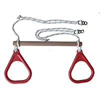 子供木製トラピーズスイングバーwith Gymnastic Rings
