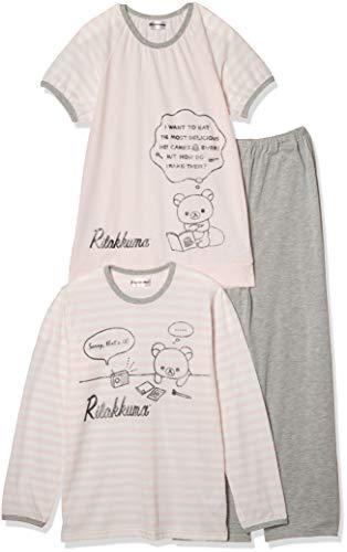 [リラックマ] パジャマ リラックマ 綿混天竺2トップス(長袖+半袖ラグラン) Tスーツパジャマ ガールズ 77923KH