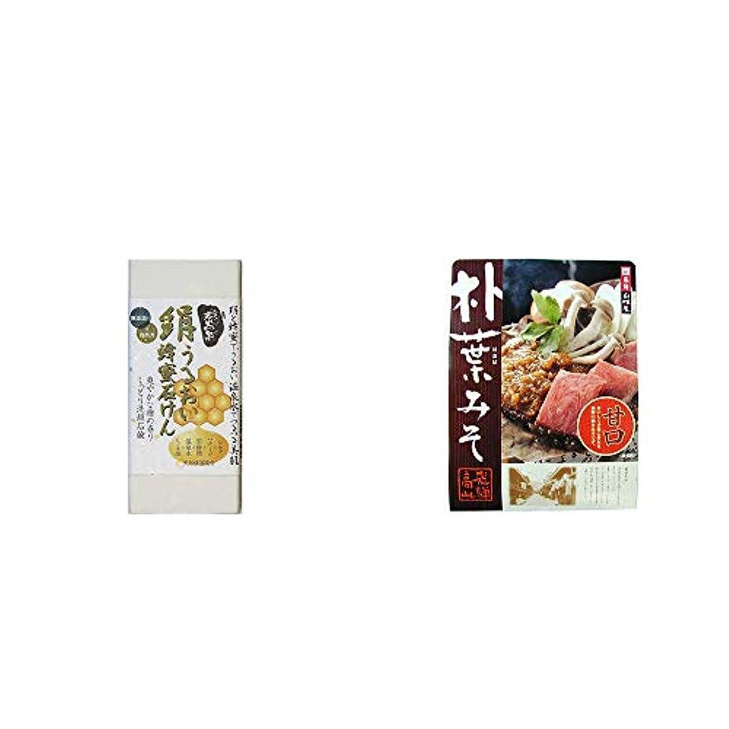風が強い食品タイヤ[2点セット] ひのき炭黒泉 絹うるおい蜂蜜石けん(75g×2)?飛騨山味屋 朴葉みそ(約2人前)
