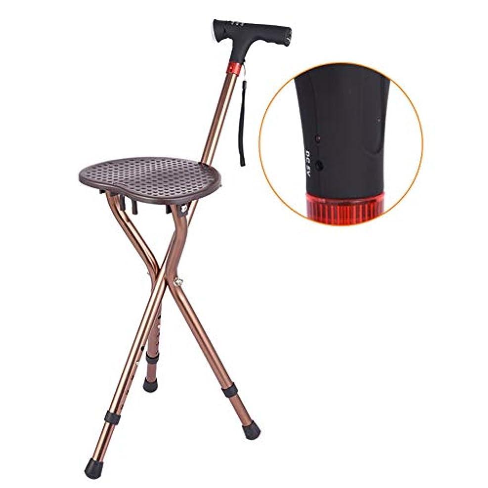 臭いヘビーアジア三脚チェア 折り畳み式 軽量 折りたたみ 3脚杖 と Ledライト 医療援助 マッサージ 歩行補助杖-A
