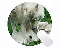 Yantengの長方形の円形のマウスパッド、動物のオオカミのゴム製大きい円形のマウスパッドのマット