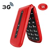 Ushining Unlocked Flip Phone 3G Dual SIM Card 2.4'' Flip Cell Phones Unlocked SOS Button Easy to Use Mobile Phone for Elderly & Kids (Red)
