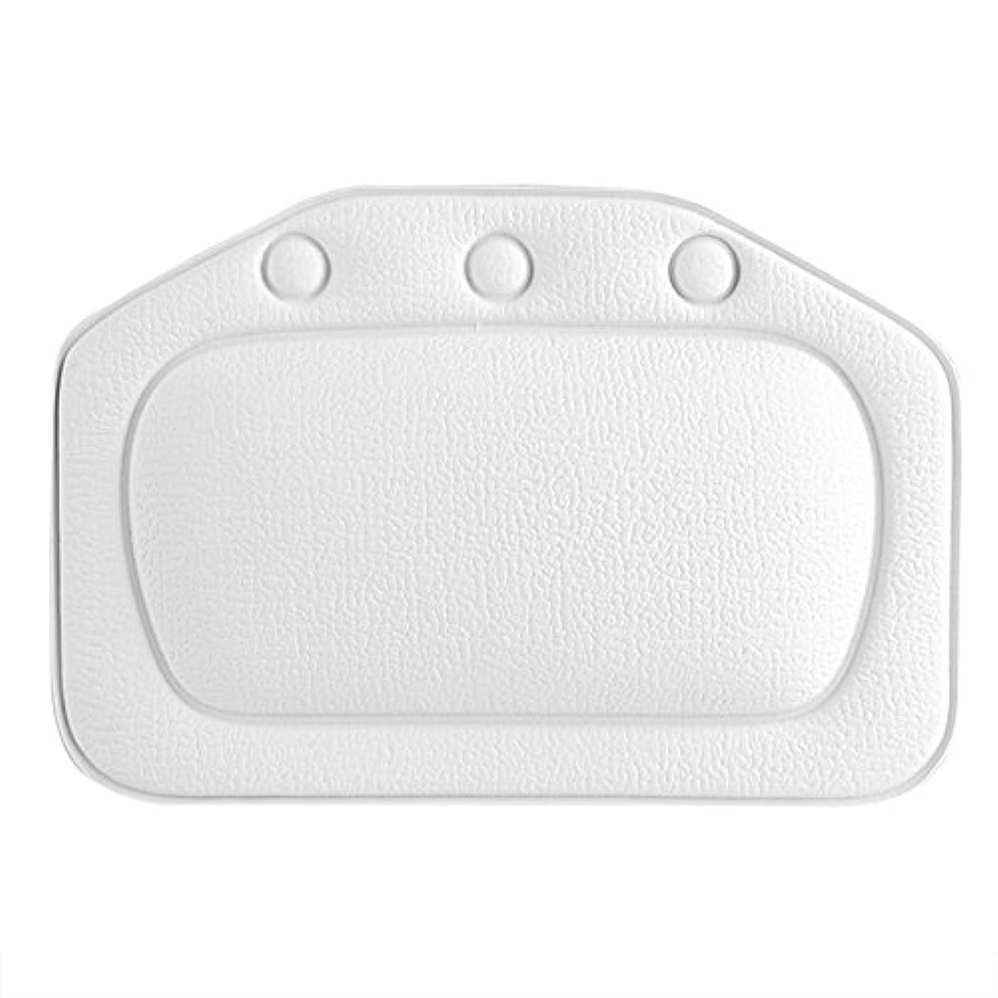 カールゴール小さいスパバスピロー、ソフトフォームパッド付き人間工学に基づいたバスタブクッションピロー浴槽ヘッドレストヘッドネックバッククッションピロー(白)