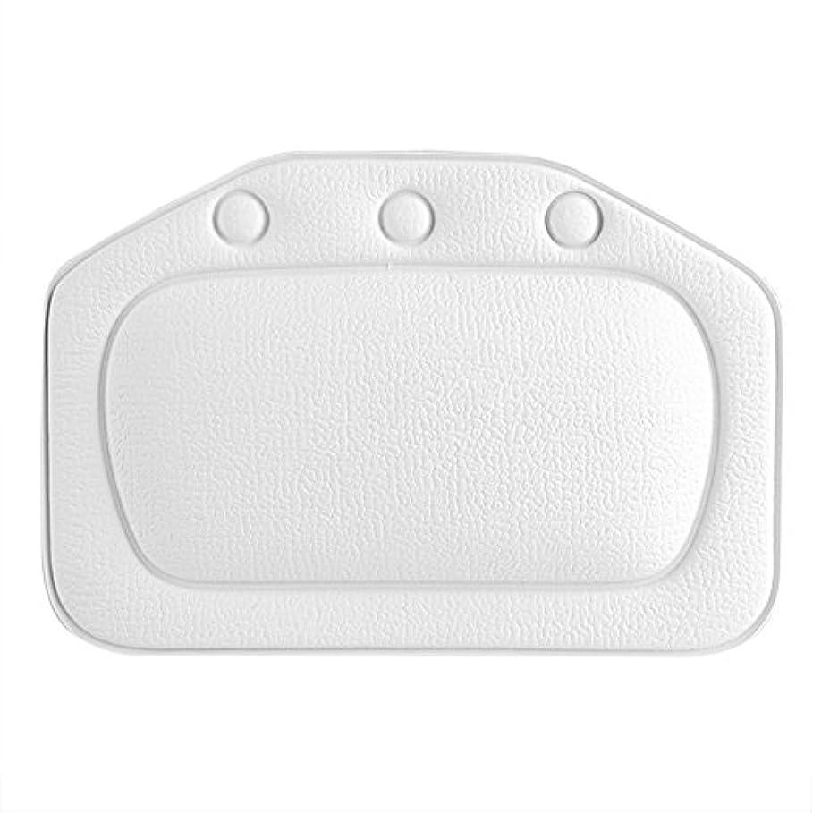 地味なイタリックうんスパバスピロー、ソフトフォームパッド付き人間工学に基づいたバスタブクッションピロー浴槽ヘッドレストヘッドネックバッククッションピロー(白)