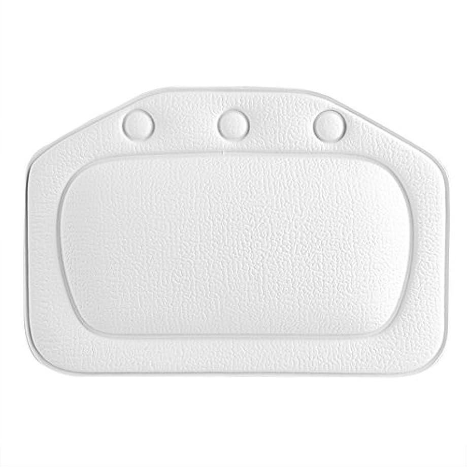 オーガニック首尾一貫した登録するスパバスピロー、ソフトフォームパッド付き人間工学に基づいたバスタブクッションピロー浴槽ヘッドレストヘッドネックバッククッションピロー(白)