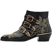 Themost Womens Genunie Leather Rivet Studded Buckle Strap Designer Short Biker Boots Low Heel