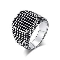 Y-YING サージカル ステンレス メンズ リング 指輪 結婚 指輪 紺 男性用指輪 四角リング ドット柄装飾リング ring 14号
