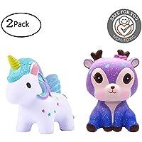 Kawaii StarユニコーンSquishy Toy Slow Rising Toyクリーム香りつきシミュレーションかわいい動物おもちゃギフトfor Kids Lovely Stress Relief Toy 2PC マルチカラー AComon-012