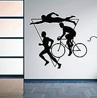 Ansyny 家の装飾スポーツトライアスロンビニールウォールステッカー多段運動競技壁デカール泳ぐ自転車ランニング壁画42 * 41センチ