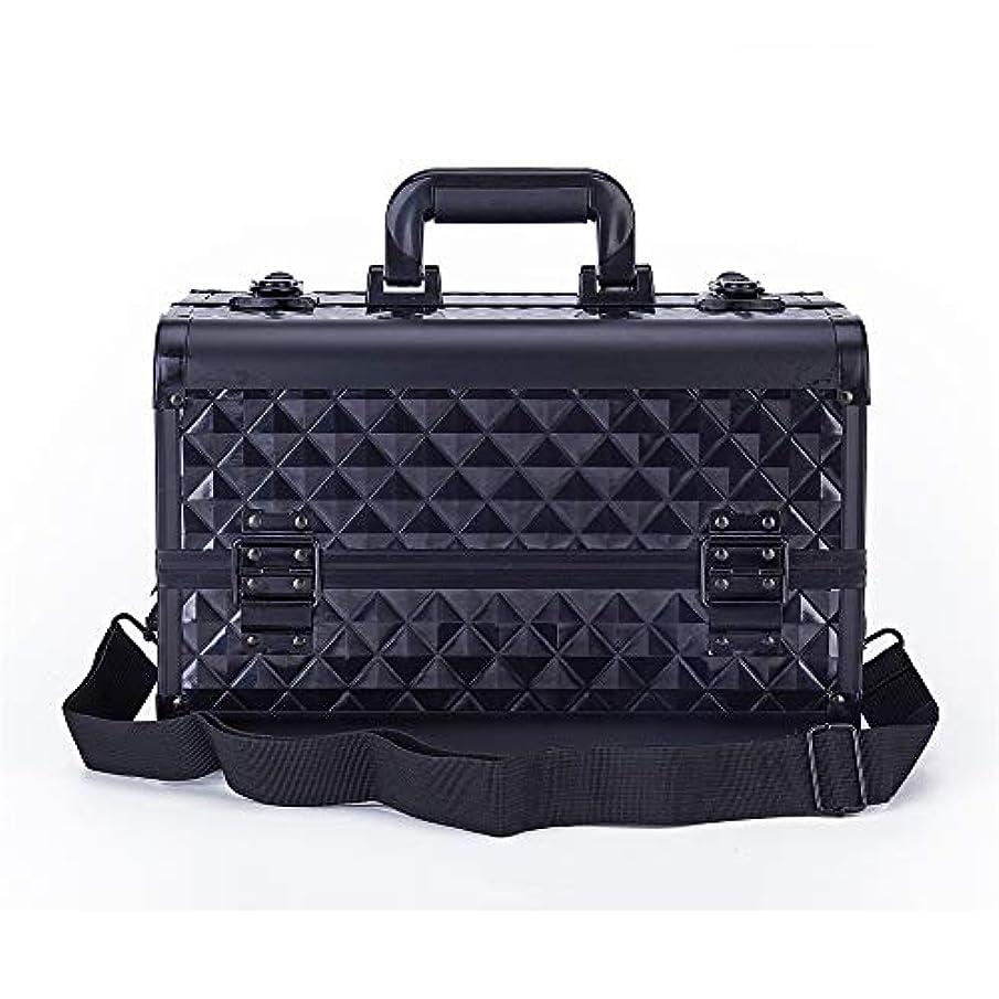 主張無テーブル化粧オーガナイザーバッグ 旅行メイクアップバッグパターンメイクアップアーティストケーストレインボックス化粧品オーガナイザー収納ボックス用十代の女の子女性アーティスト 化粧品ケース (色 : ブラック)