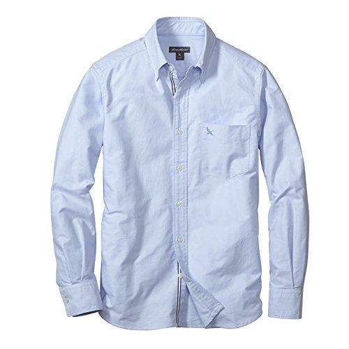 (エディー・バウアー) Eddie Bauer 長袖オックスフォードソリッドロゴボタンダウンシャツ(グースロゴ刺しゅう入り)(ホワイト M)