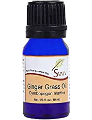 SVATV Ginger Grass (Cymbopogon martini) Essential Oil 10 mL (1/3 oz) Therapeutic Grade Aromatherapy Essential...