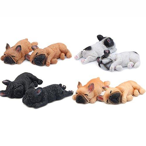 DIY の孟は眠ることができないシリーズ小さなフレンチブルドッグ木製犬冷蔵庫ステッカー人形磁気テープ (8,ストレート+側に)