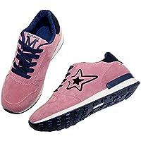 1 x ペアのピンクのスポーツシューズ 星の学生のスキッドシューズ 通気性のあるレジャー旅行靴 ハイキングシューズ US4.5 = EU35 足 225mm