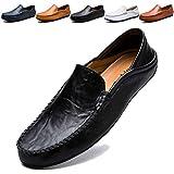 MCICI ローファー スリップオン ドライビングシューズ メンズ 本革 デッキシューズ 軽量 モカシン 靴 カジュアルシューズ 2種履き方 手作り 紳士靴 ビジネスシューズ ローカット職場用 スリッポン 大きなサイズ,ブラック,26.5CM