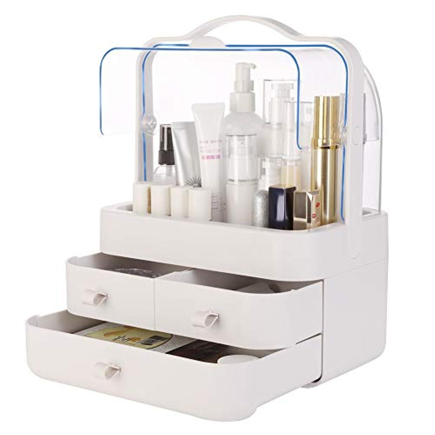 ピアース急流説得化粧品収納ボックス VICOODA メイクケース 防塵 防水 大容量 透明カバー開閉 ABS+PP 引き出し付 持ち運び取っ手付き 小物/化粧品入れ