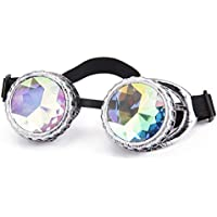 Lelinta Steampunk Kaleidoscope Goggles Rave Glasses Rainbow Crystal Glass Lens