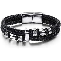 MoAndy Leather Bracelet 316L Stainless Steel Weaved Silver Black Bracelets for Men