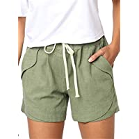 YHBAO Women's Drawstring Elastic Waist Casual Comfy Cotton Linen Beach Shorts