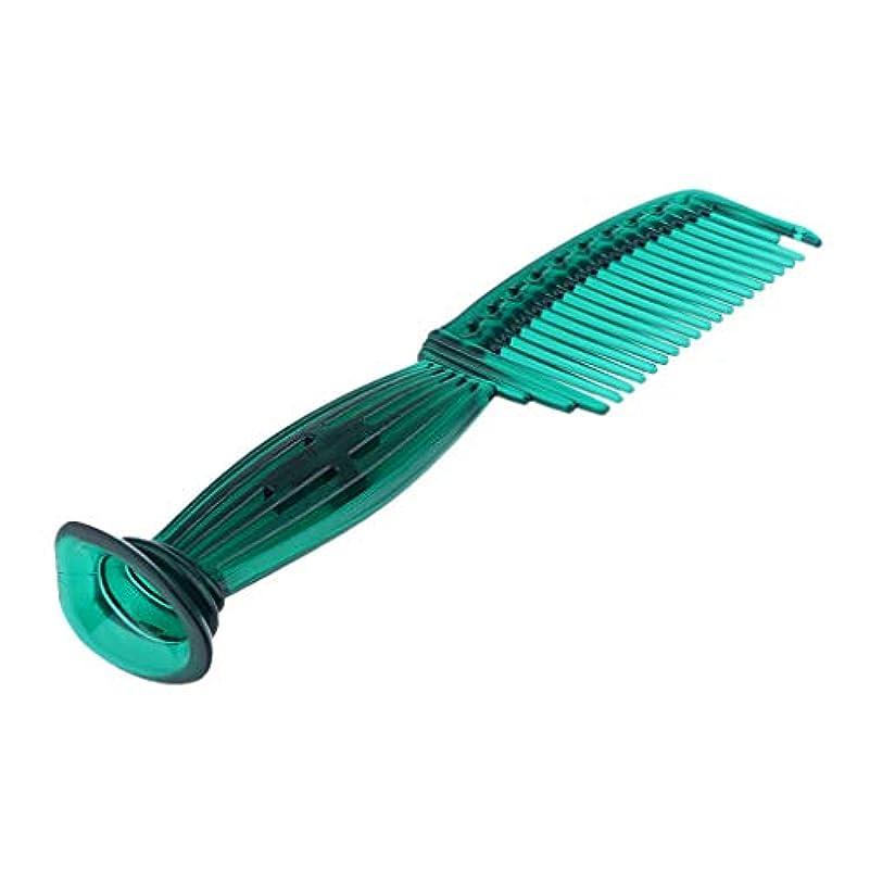 極めて重要な極めて重要な下向きヘアコーム ヘアブラシ ラウンドチップ ワイドスペースの歯 頭皮保護 櫛 5色選べ - 緑