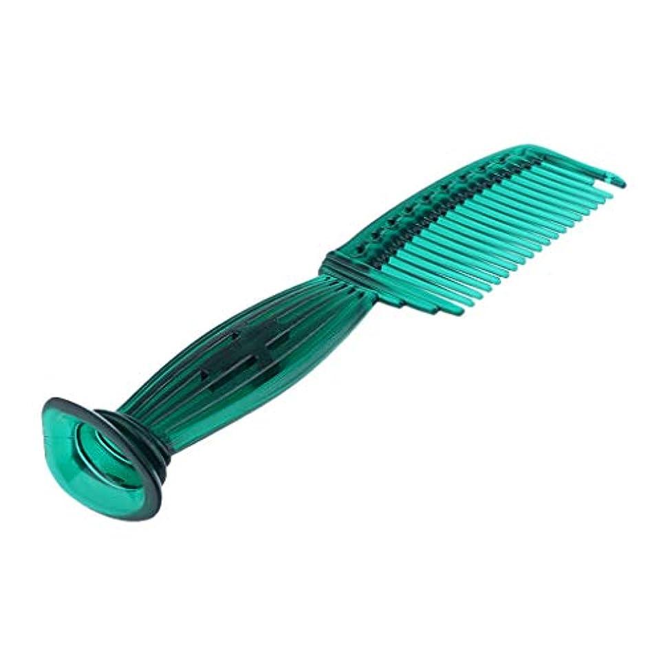 嘆願ピルみなすヘアコーム ヘアブラシ ラウンドチップ ワイドスペースの歯 頭皮保護 櫛 5色選べ - 緑